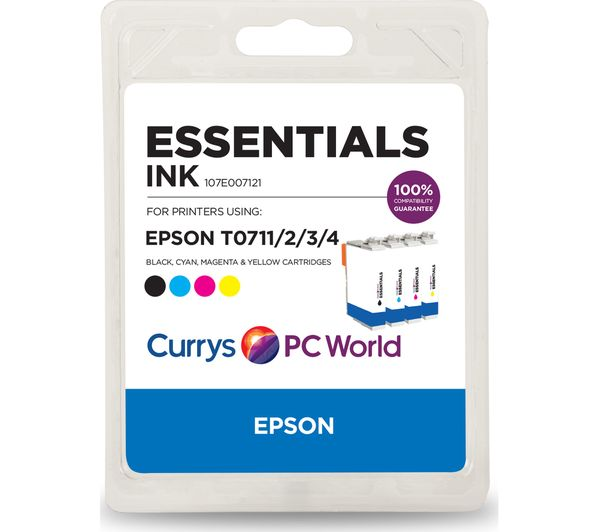 Compare retail prices of Essentials T071 Tri-colour and Black Epson Ink Cartridge Multipack to get the best deal online