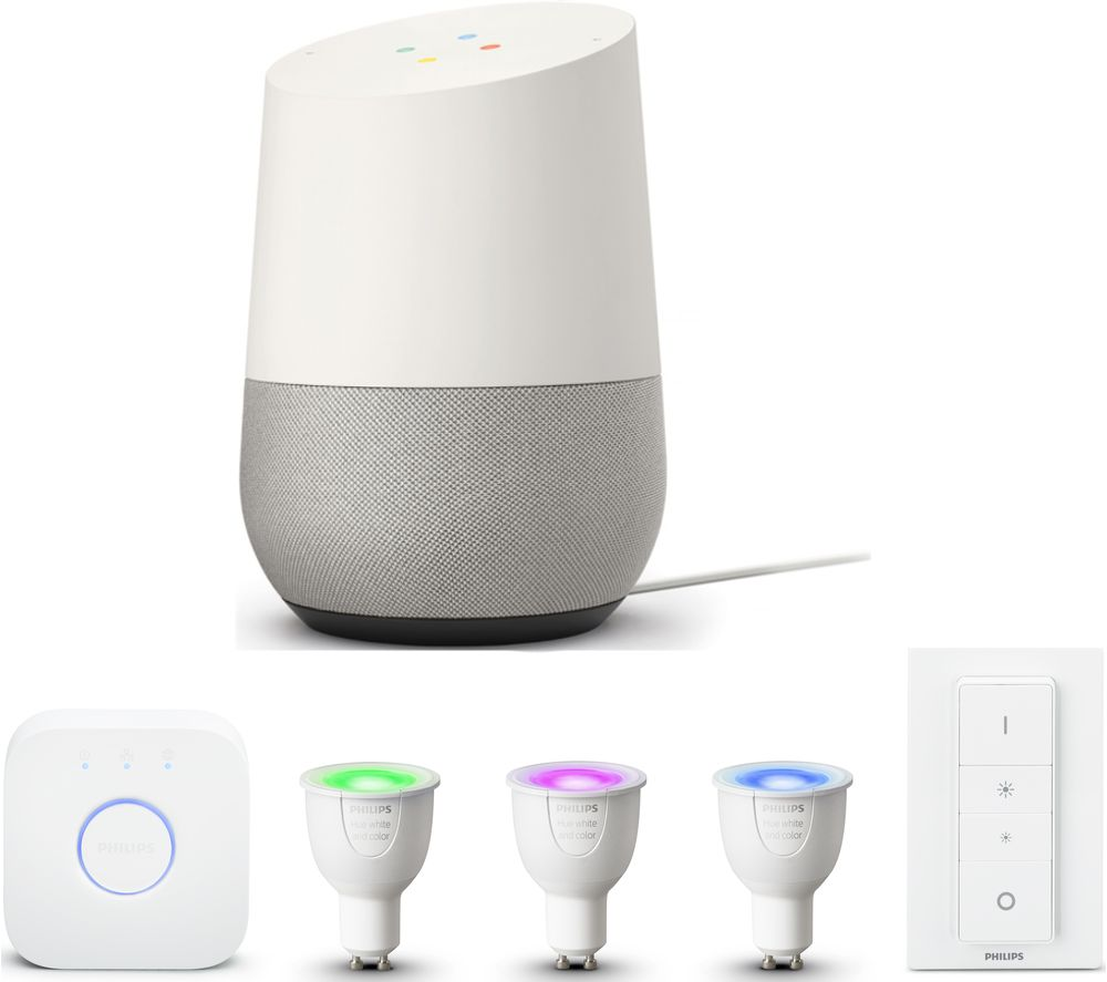 PHILIPS Hue White & Colour Ambiance GU10 Starter Kit & Google Home Bundle