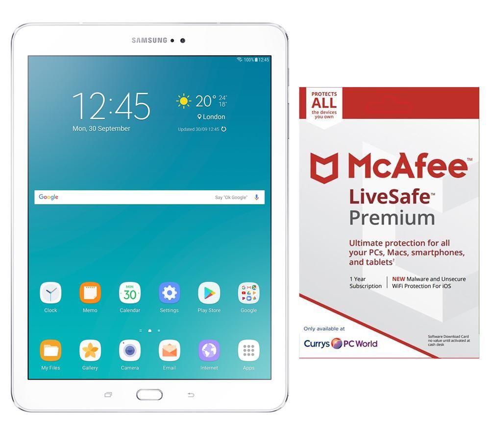 buy samsung galaxy tab s2 9 7 tablet livesafe premium 2018 bundle 32 gb white free. Black Bedroom Furniture Sets. Home Design Ideas
