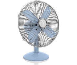 "SWAN SFA12620BLN Retro 12"" Desk Fan - Blue"