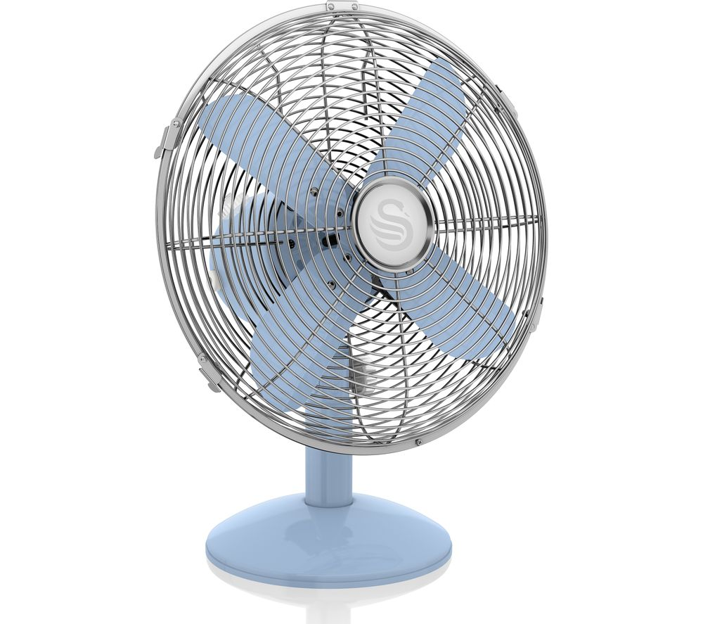 "SWAN SFA12620CN Retro 12"" Desk Fan - Blue"