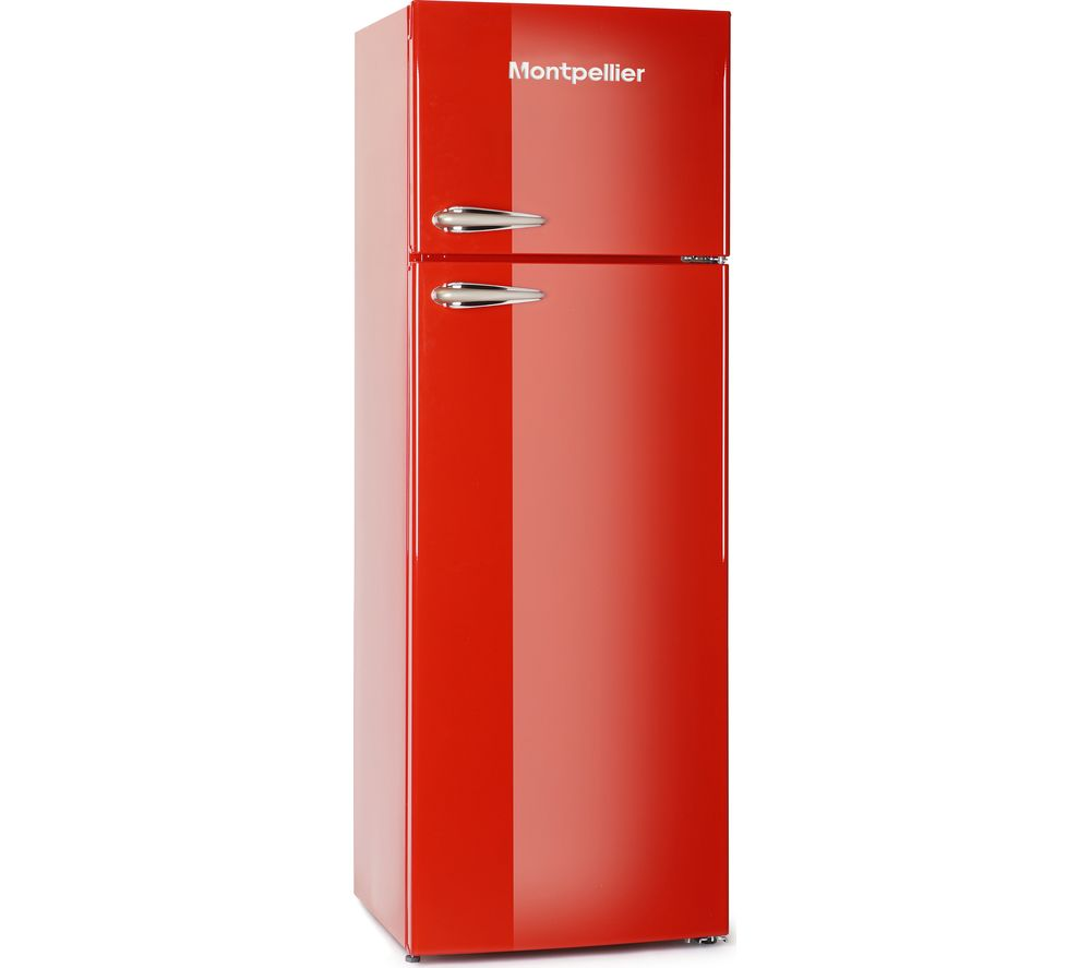Montpellier MAB345R Retro Top Mount Freestanding Fridge Freezer Red