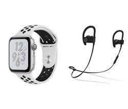 APPLE Watch Series 4 Nike+ & Powerbeats3 Wireless Bluetooth Headphones Bundle - Platinum & Black Sports Band, 44 mm