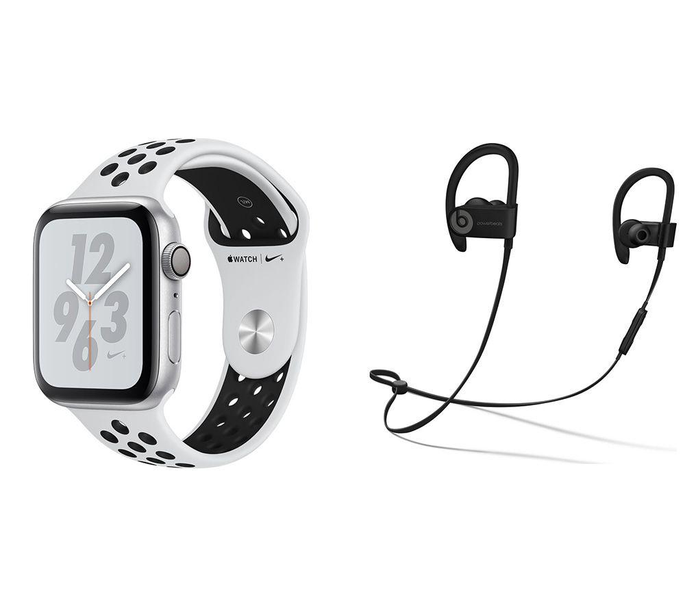 APPLE Watch Series 4 Nike & Powerbeats3 Wireless Bluetooth Headphones Bundle - Platinum & Black Sports Band, 44 mm, Black cheapest retail price