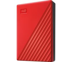WD My Passport Portable Hard Drive - 4 TB, Red