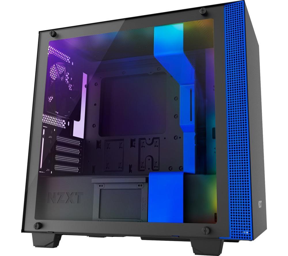 Image of H400i Micro-ATX Mid-Tower PC Case - Black & Blue, Black