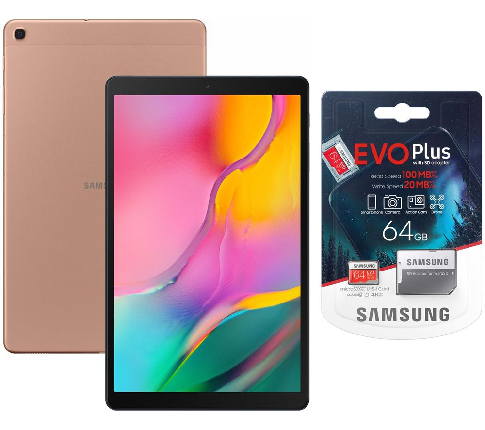 "Image of SAMSUNG Galaxy Tab A 10.1"" Tablet (2019) & Evo Plus 64 GB microSD Memory Card Bundle - 32 GB, Gold, Gold"