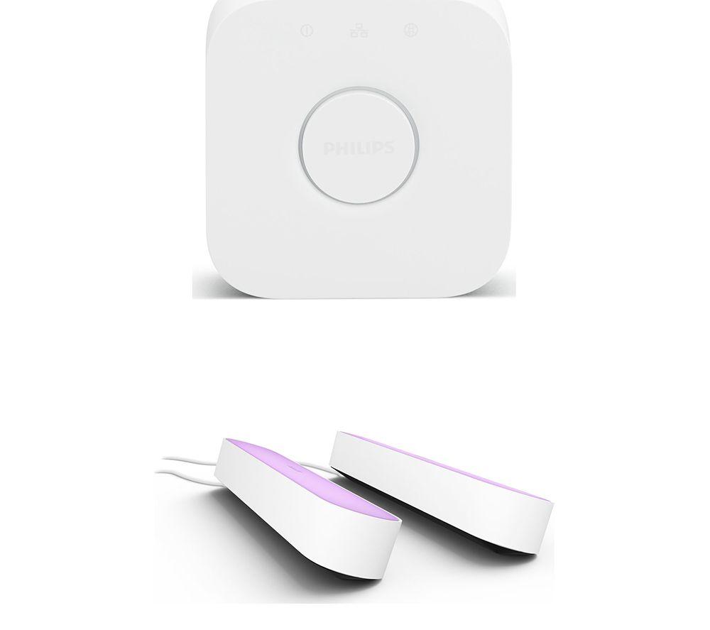 PHILIPS HUE Twin Pack Hue Play Light Bar & Smart Home Bridge 2.0 Bundle - White