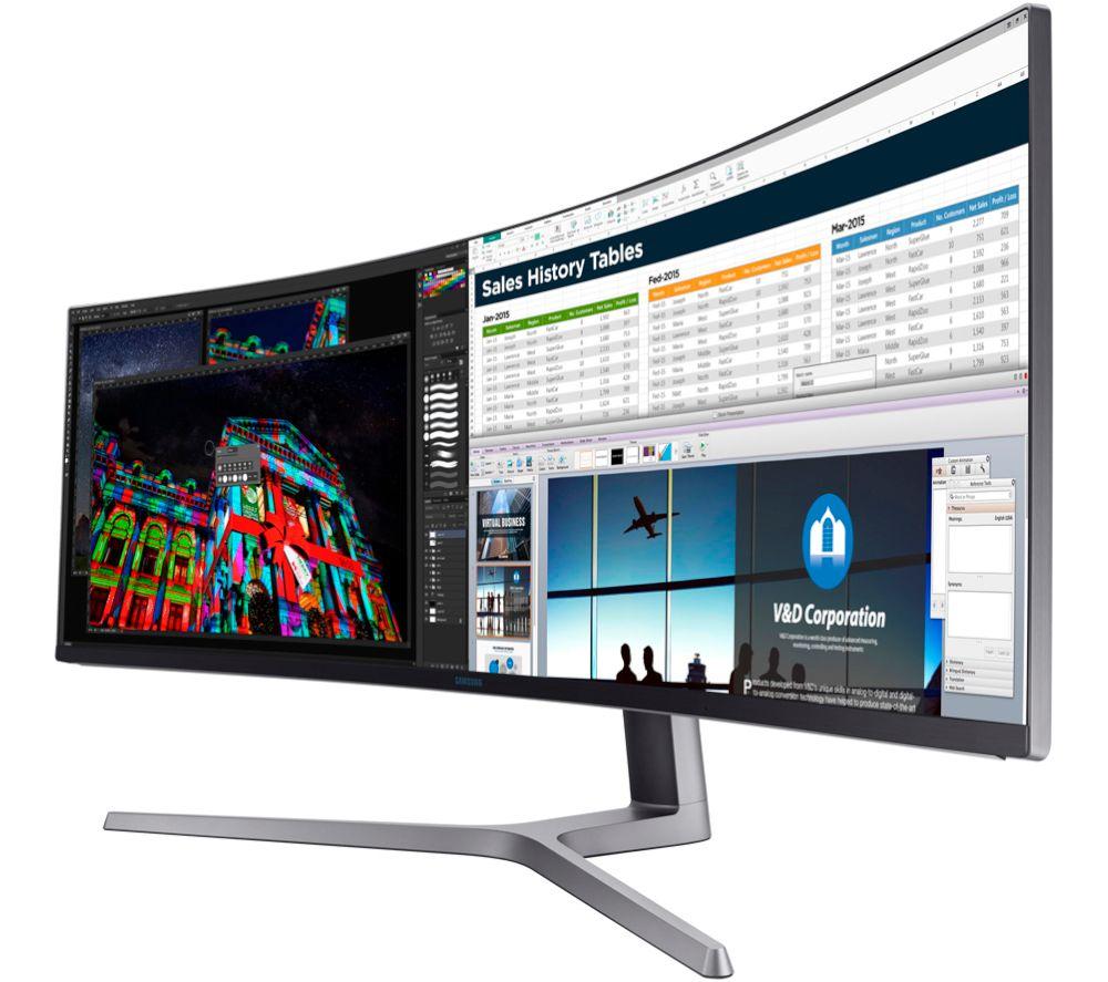 "SAMSUNG LC49HG90DMRXXU Wide Full HD 49"" Curved QLED Monitor - Black"