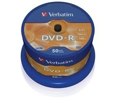 VERBATIM 16x Speed DVD-R Blank DVDs - Pack of 50