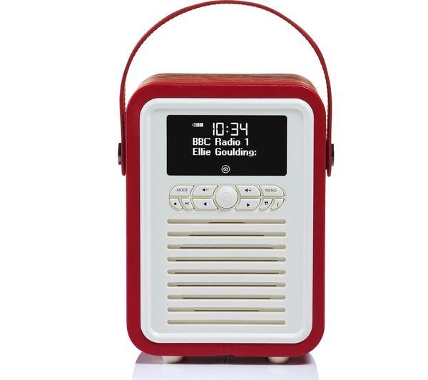 Image of VQ Retro Mini Portable DAB+/FM Bluetooth Clock Radio - Red