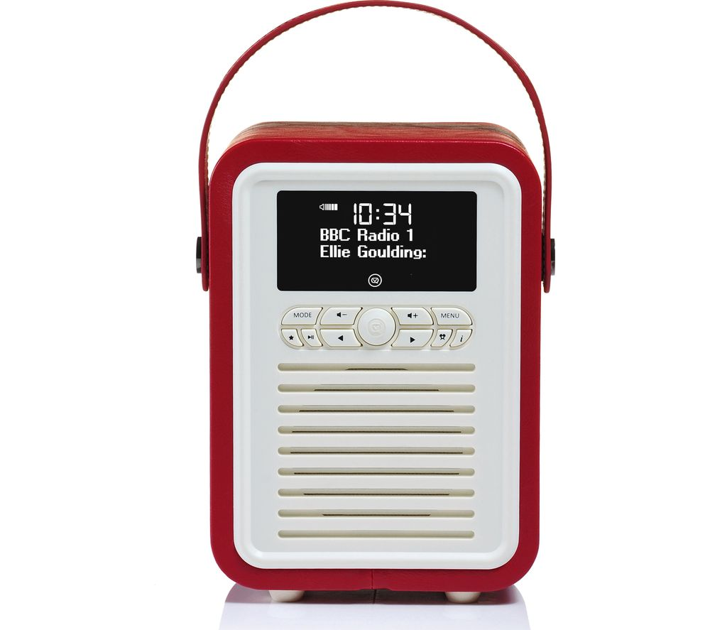VQ Retro Mini Portable DAB+/FM Bluetooth Clock Radio - Red