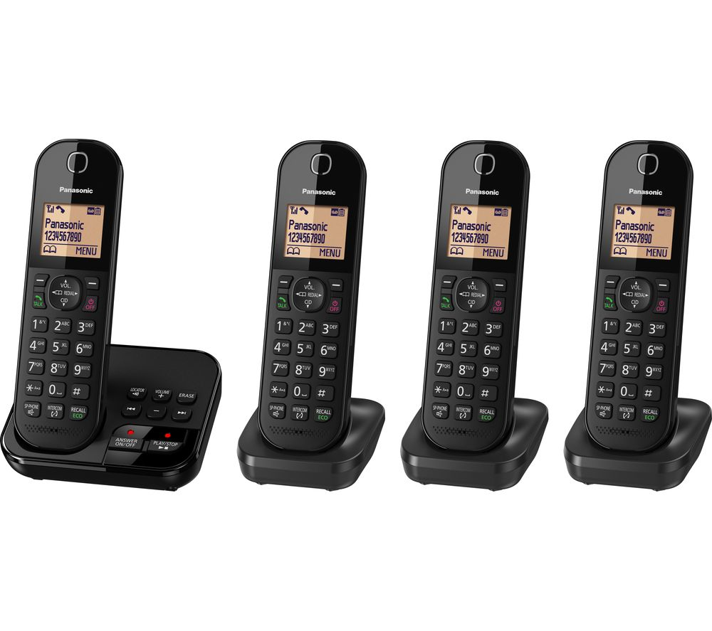 PANASONIC KX-TGC424EB Cordless Phone with Answering Machine - Quad Handsets