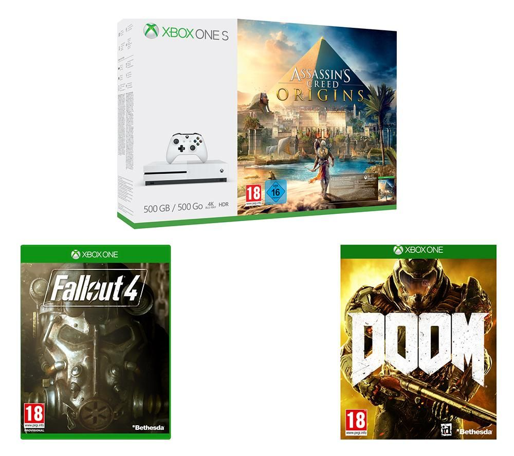 Image of MICROSOFT Xbox One S with Assassin's Creed Origins, Fallout 4 & Xbox One Doom Bundle