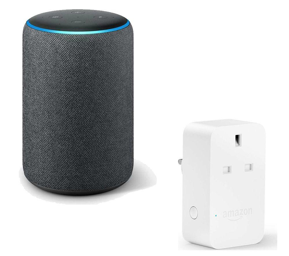 Image of AMAZON Echo Plus Charcoal & Smart Plug Bundle, Charcoal
