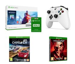 MICROSOFT Xbox One S, Battlefield V, Project Cars 2, Tekken 7, Wireless Controller & Xbox LIVE Gold Membership Bundle
