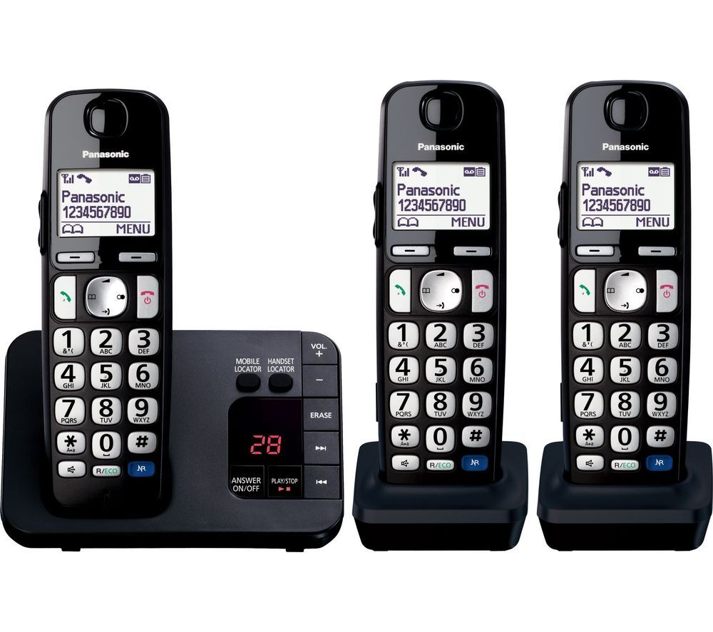 KX-TGE723EB Cordless Phone - Triple Handsets