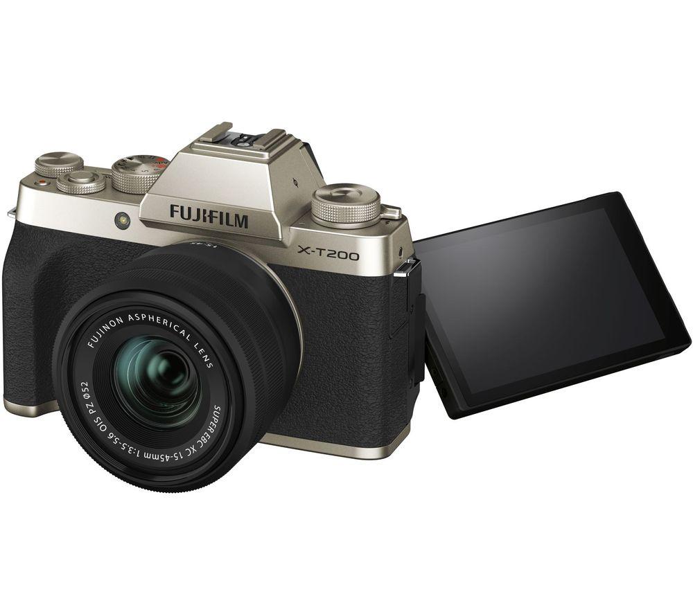 FUJIFILM X-T200 Mirrorless Camera with FUJINON XC 15-45 mm f/3.5-5.6 OIS PZ Lens - Champagne Gold