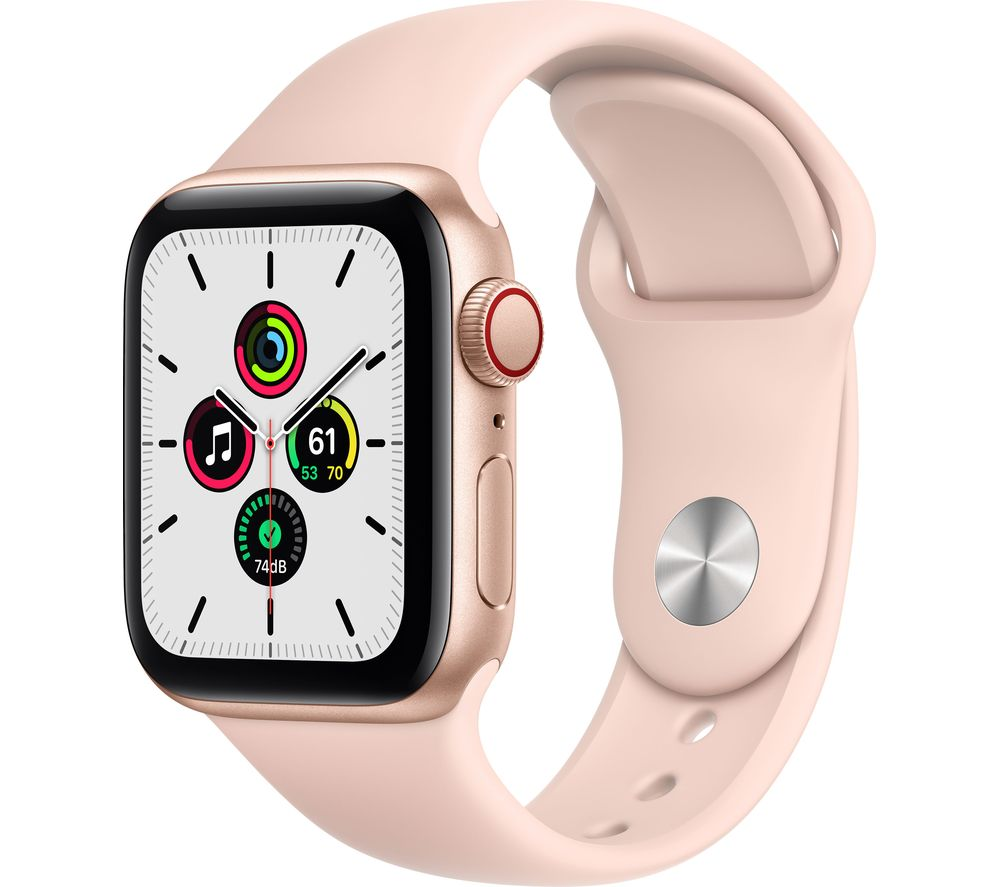 APPLE Watch SE Cellular - Gold Aluminium with Pink Sand Sports Band, 44 mm
