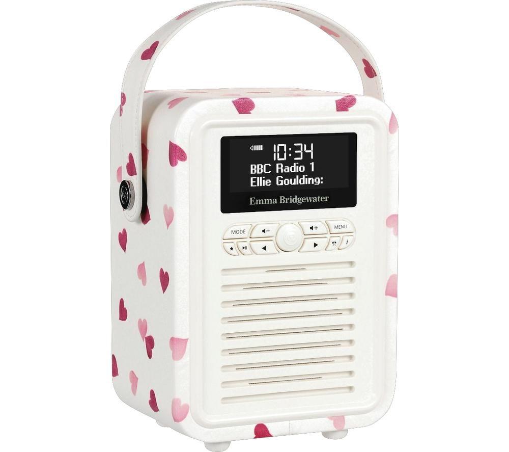 Image of VQ Retro Mini Portable DABﱓ Bluetooth Radio - Emma Bridgewater Pink Hearts, Pink