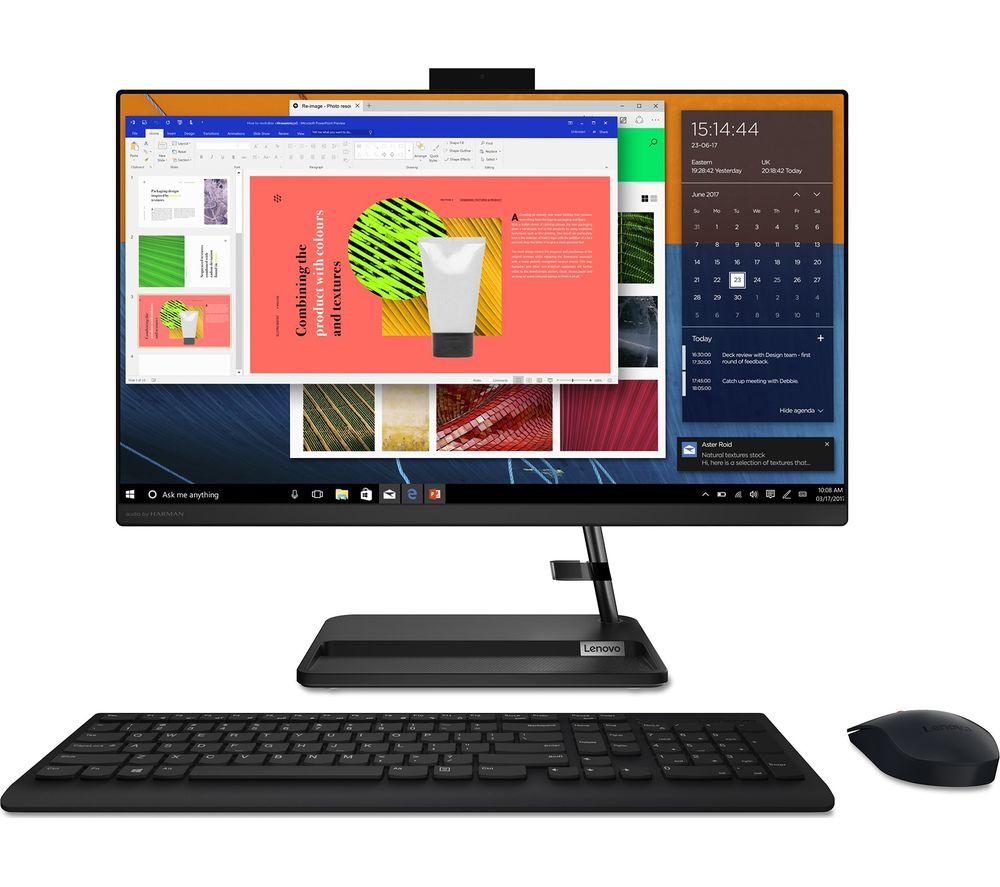 "Image of LENOVO IdeaCentre AIO 3 23.8"" All-in-One PC - AMD Athlon Silver, 256 GB SSD, Black"