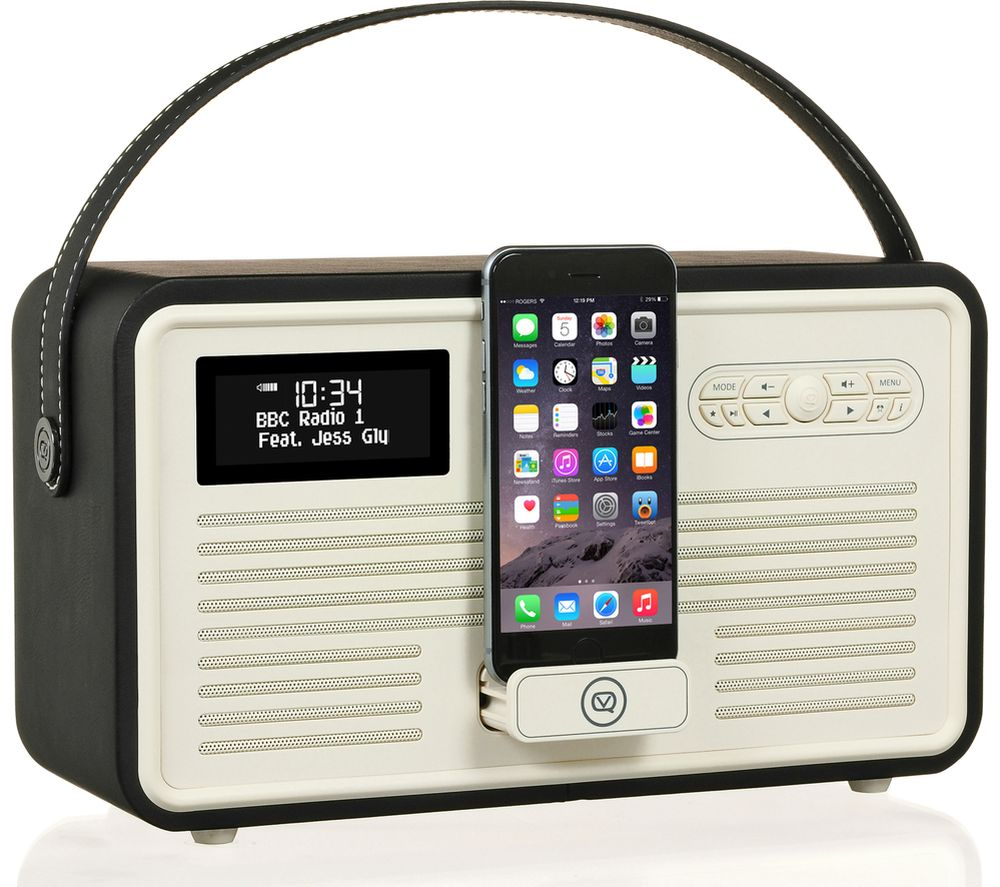 VQ Retro Mk II Portable DAB+/FM Bluetooth Clock Radio - Black