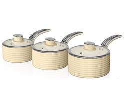 Retro SWPS3020CN 3-piece Non-stick Saucepan Set - Cream