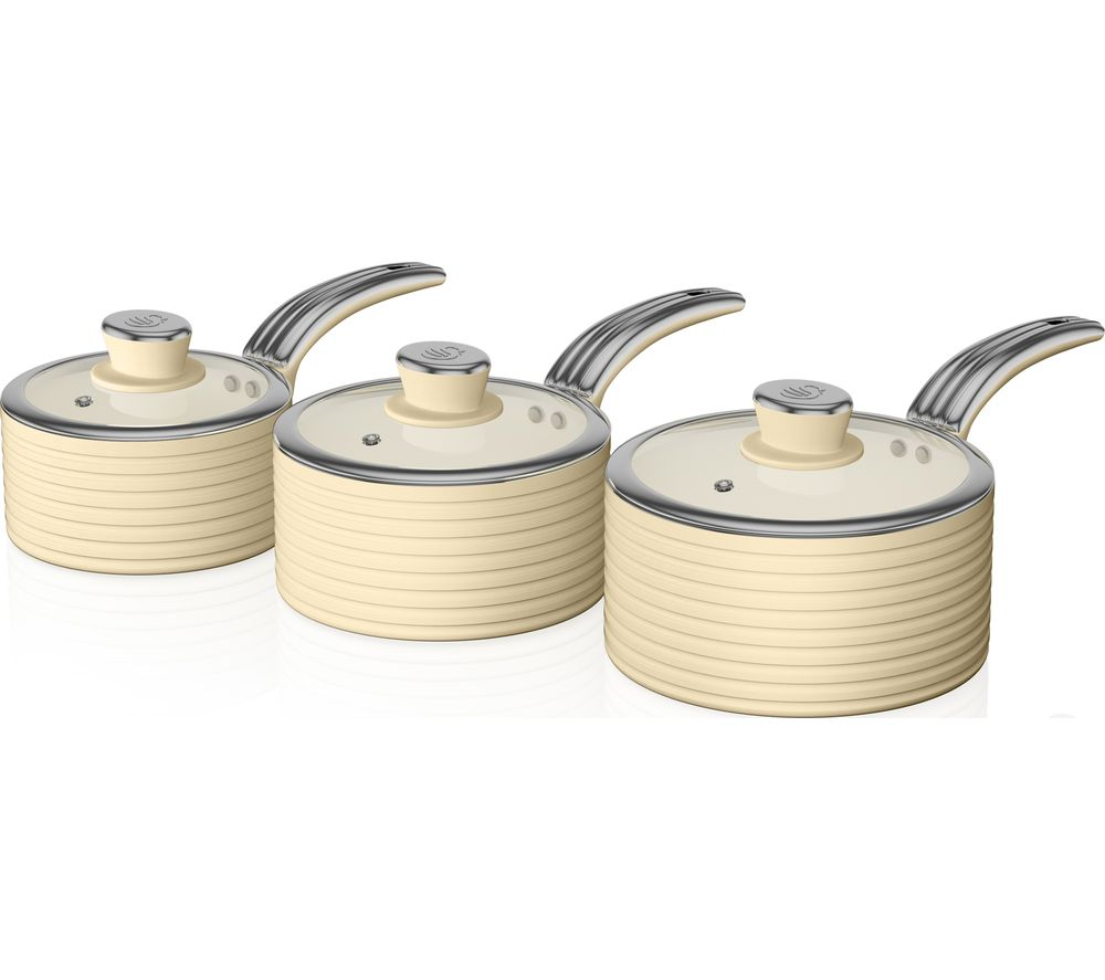 SWAN Retro SWPS3020CN 3-piece Non-stick Saucepan Set - Cream