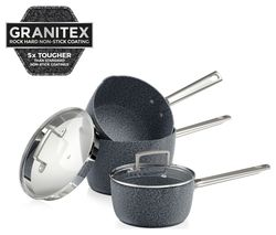 TOWER T90981 3-piece Granitex Saucepan Set - Granite Grey