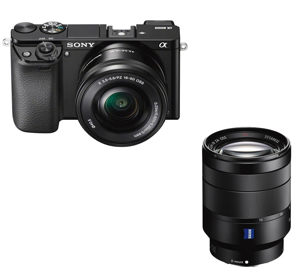 SONY a6000 Mirrorless Camera with 16-50 mm f/3.5-5.6 & 24-70 mm f/4 Lens Bundle