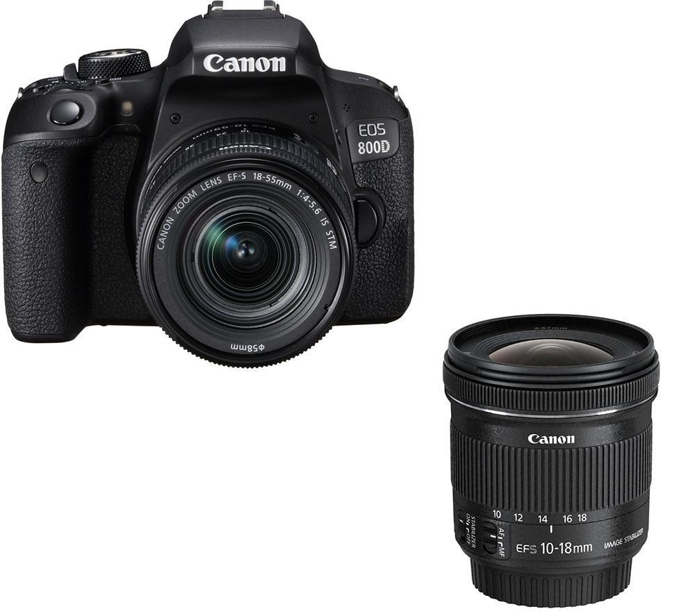 CANON EOS 800D DSLR Camera, EF-S 18-55 mm f/4-5.6 Lens & EF-S 10-18 mm f/4.5-5.6 Lens Bundle