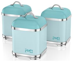 Fearne by Swan SWKA1025PKN Square 1.5 litre Storage Canisters - Peacock, Set of 3