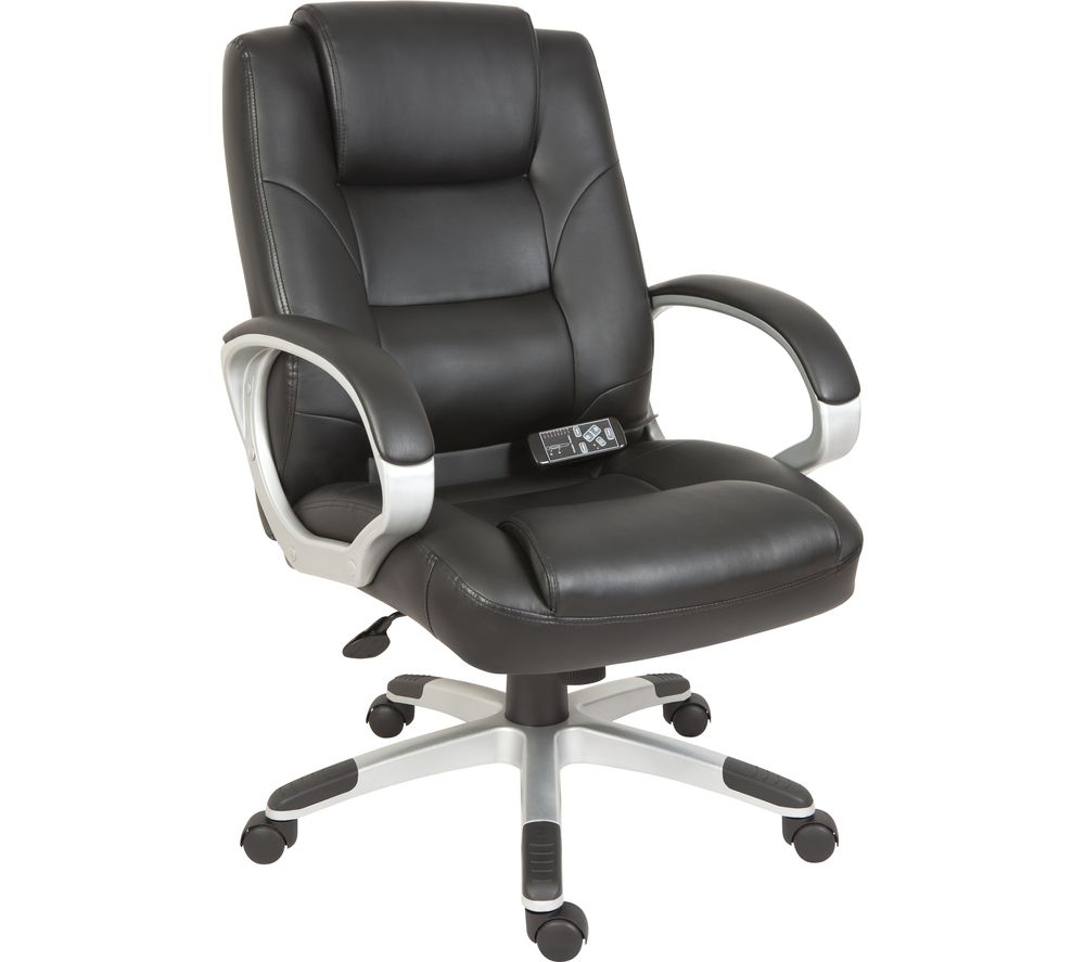 TEKNIK Lumbar Massage Faux Leather Reclining Executive Chair - Black