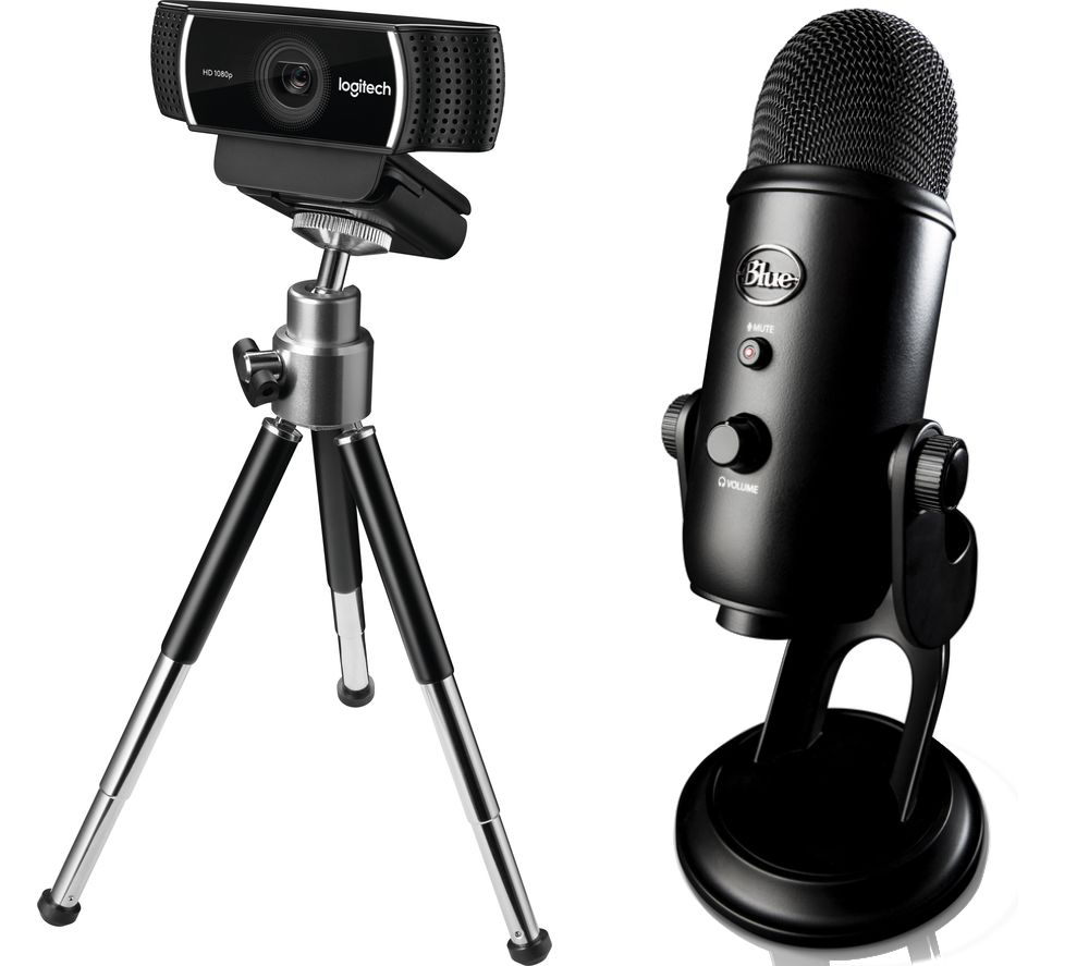LOGITECH C922 Full HD Webcam & Blue Yeti Professional USB Microphone Bundle, Blue