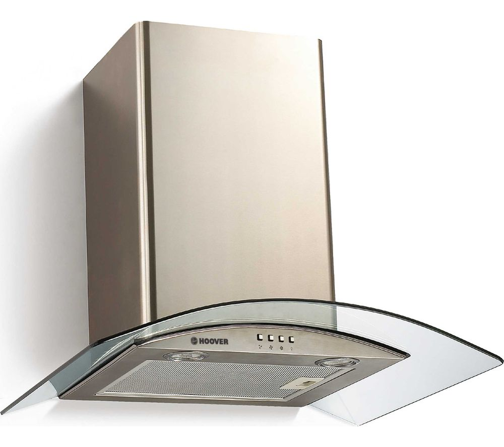 Hoover HGM610NX 60cm Cooker Hood with Curved Glass Canopy - Stainless Steel