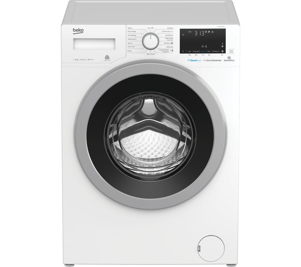Beko Pro WX840430W Bluetooth 8 kg 1400 Spin Washing Machine - White