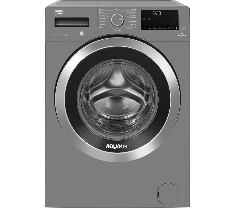 BEKO AquaTech WX94044E0G Bluetooth 9 kg 1400 Spin Washing Machine - Graphite, Graphite
