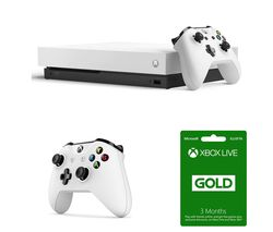MICROSOFT Xbox One X, LIVE Gold Membership Subscription & Wireless Controller Bundle