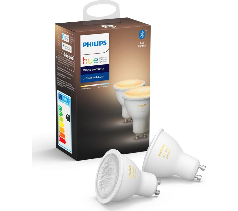 PHILIPS HUE Hue White Ambiance Bluetooth LED Bulb - GU10, Twin Pack