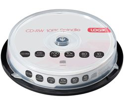 10x Speed CD-RW Blank CDs - Pack of 10