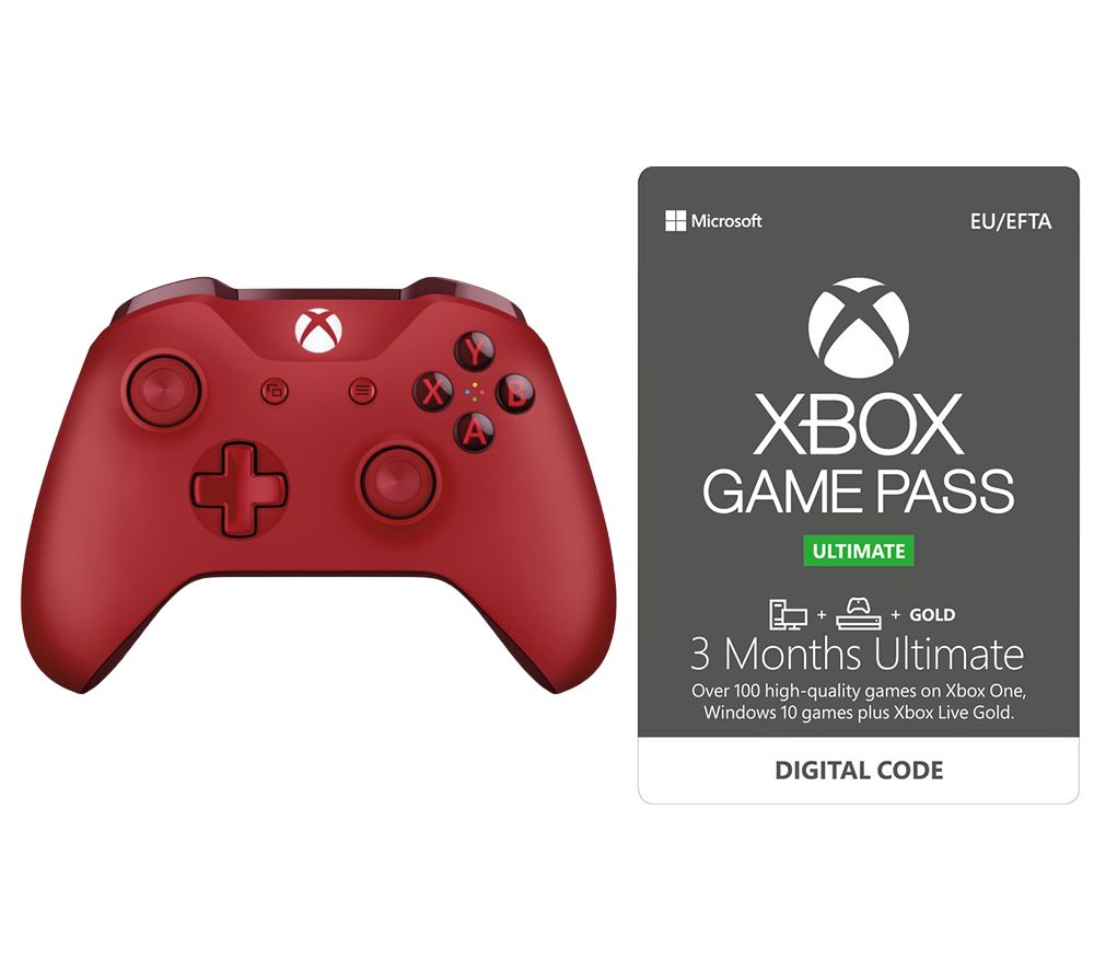 MICROSOFT Xbox One Wireless Controller & Game Pass Ultimate Bundle - Red, Red