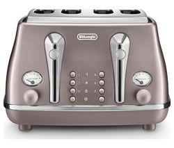 DELONGHI Icona Metallics CTOT4003.PK 4-Slice Toaster - Violet