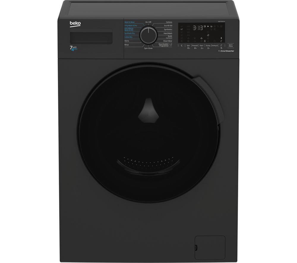 BEKO WDK742421A Bluetooth 7 kg Washer Dryer - Black, Black