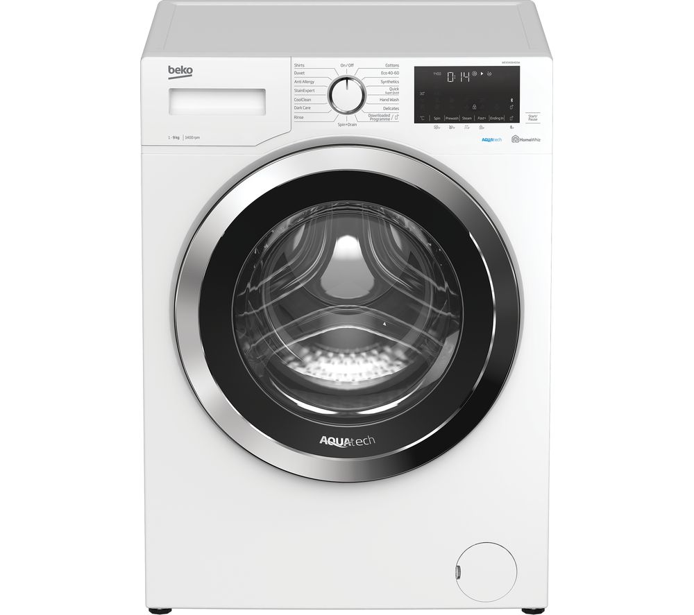 BEKO Aquatech WEX94064E0W Bluetooth 9 kg 1400 Spin Washing Machine - White