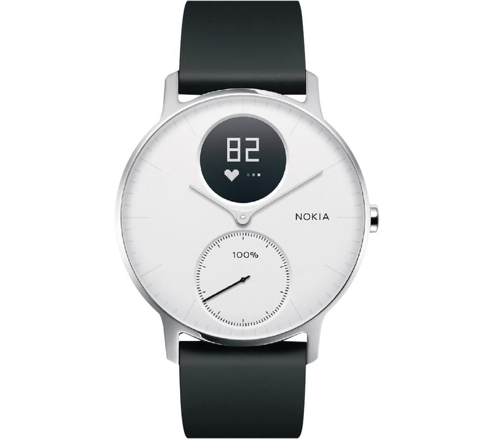 WITHINGS Steel HR Smartwatch - White & Black, Silicone Strap, White