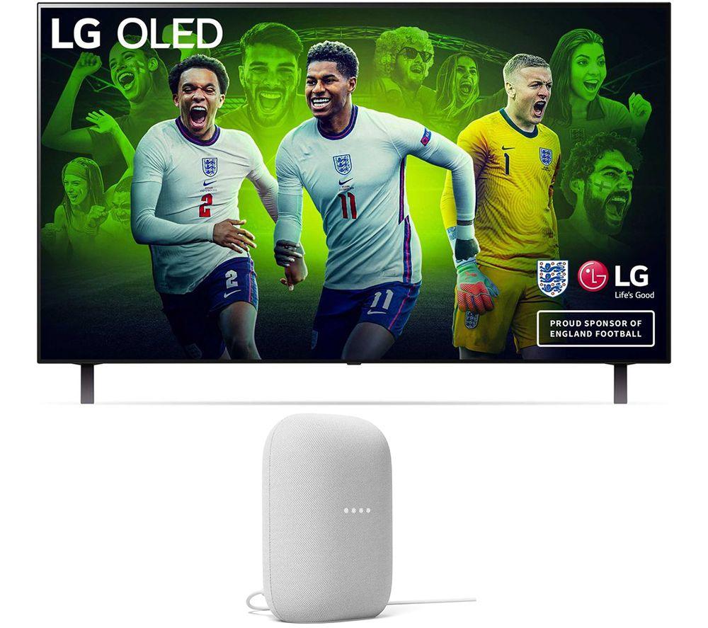"""LG OLED48A16LA 48"""" Smart 4K Ultra HD HDR OLED TV & Chalk Google Nest Audio Bundle"""