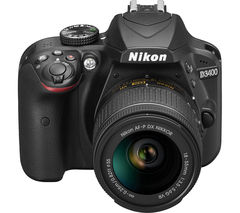 NIKON D3400 DSLR Camera with 18-55 mm f/3.5-5.6 VR Lens - Black