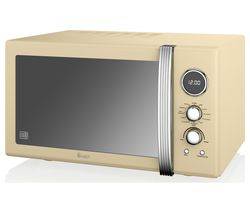 SWAN SM22080CN Retro Microwave with Grill - Cream
