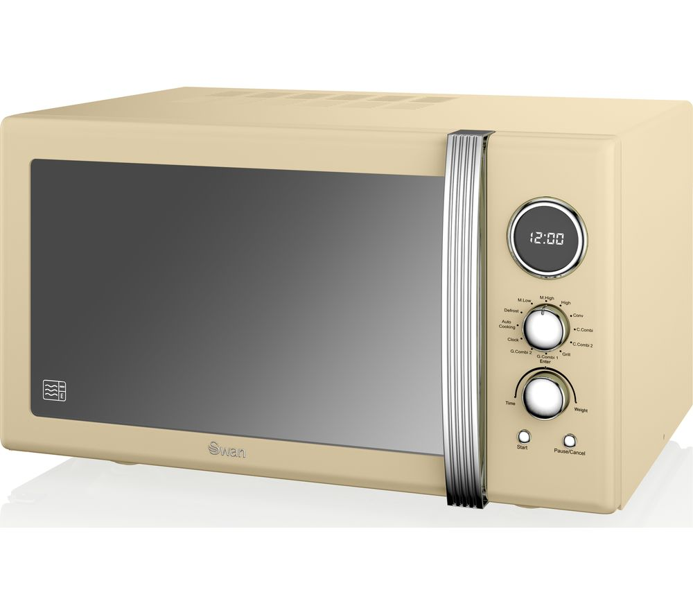Swan Sm22080cn Retro Microwave With Grill Cream Gay