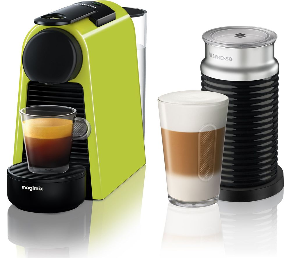 buy nespresso by magimix essenza mini coffee machine with aeroccino lime green free delivery. Black Bedroom Furniture Sets. Home Design Ideas